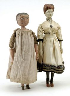 "ncludes early 19th century English bedpost doll with blue glass eyes, painted hair, wooden arms and legs, also includes early 20th century carved folk art woman, fully jointed wood body, painted features, wearing vintage silk dress with jewelry  Size: dolls 14.5"" t."