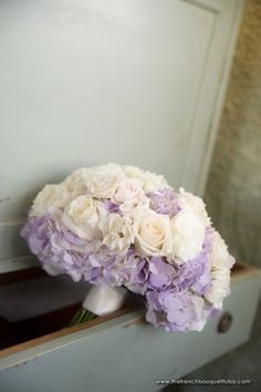 Bridal Bouquet of Light Purple Hydrangea and White and Cream Roses