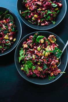 Reset with this healthy superfood salad featuring raw beets, carrot, quinoa, spinach, edamame and avocado. It& as colorful as it is nutritious! Beet Salad Recipes, Healthy Recipes, Healthy Salads, Vegetarian Recipes, Healthy Eating, Cooking Recipes, Weeknight Recipes, Spinach Recipes, Easy Recipes