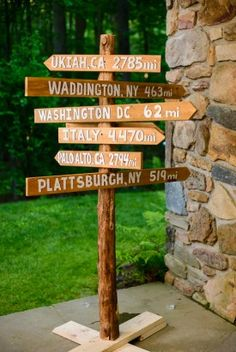 Wooden City Directional Signs with Cities of Importance (Bride and Groom's Hometowns, Honeymoon Location, etc). Rustic Spring Wedding Reception in Maryland. Wood Wedding Signs, Wedding Signage, Directional Signage, Arrow Signage, Wedding Day Tips, Wedding Ideas, Trendy Wedding, Wedding Directions, Wedding Locations