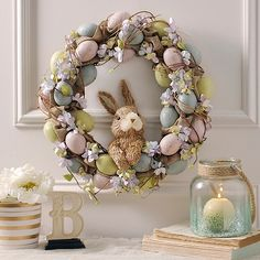 Hydrangea and Eggs Easter Bunny Wreath