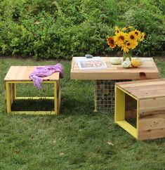 These benches and table are a fun blend of rustic wood, fresh colors, and re-purposed materials. The table base is made from a metal storage shelving unit that'…