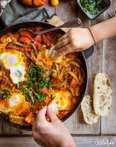 Chakchouka Dumplings, Paella, Gluten, Ethnic Recipes, Desserts, Blog, Instagram, Vegetarische Rezepte, Tailgate Desserts