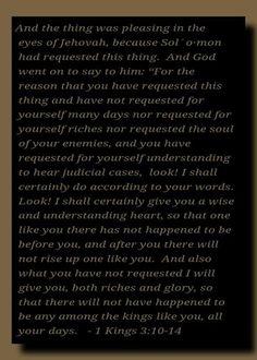 1 Kings 3:10-14