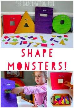 Feed the hungry shape monsters game! Fun preschool or kindergarten math game. - Feed the Hungry Shape Monsters Sorting Game - The Imagination Tree Kindergarten Math Games, Preschool Classroom, Preschool Learning, Preschool Crafts, Learning Activities, Maths Eyfs, Childcare Activities, Science Crafts, Montessori Elementary