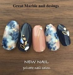 25 Marble Nail Design with Water & Nail Polish design Nails black marble nailart 54 ideas Black Marble Nails, Marble Nail Art, Black Nails, Nail Art Designs, Marble Nail Designs, Navy Nail Designs, Navy Nails, Water Nails, Nailart