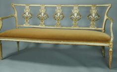 18th C. Italian Carved Wood and Paint Decorated Bench | From a unique collection of antique and modern settees at http://www.1stdibs.com/furniture/seating/settees/