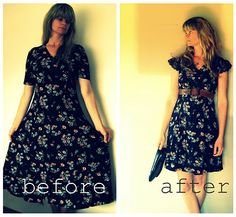 90s floral dress Refashion.  Great blog for other refashion ideas too.