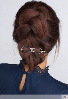 Scroll centerpiece design flexi clip with black aurora borealis accent beads styling a gorgeous braided updo in dark brown red hair