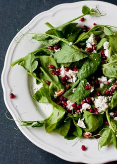Cafe Johnsonia: Pea Shoot, Pomegranate and Chevre Salad with Greek Yogurt Vinaigrette