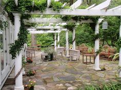 Established pergolas are timeless elegance.  me - note the board placement.