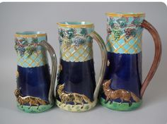 Three sizes. T.C. Brown Westmead Moor & Co., Majolica Fox in the Vineyard pitchers. Madeleine Antiques image.