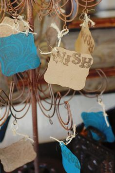 """Cute idea for memo """"guest book"""" notes. Twine as added texture. Shape of card."""