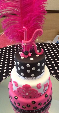 Poka Dots, Hot Pink Feathers and Leopard Print Birthday Cake