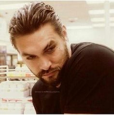 Jason Momoa...if this happened at the grocery store, I think I'd faint- or knock over a ridiculously tall tower of products somehow.