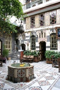 Beautiful traditional old Damascus courtyard house with exceptional service. Modern Architecture House, Islamic Architecture, Amazing Architecture, Architecture Details, Interior Architecture, Exterior Design, Interior And Exterior, Dream Home Design, House Design