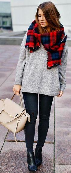 (Anna's comment - smaller scarf) denim & plaid | Mariannan #denim