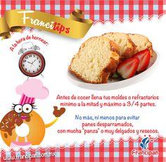Para no derramar tu pan llena los moldes o refractarios a la mitad o a 3/4 de su capacidad.