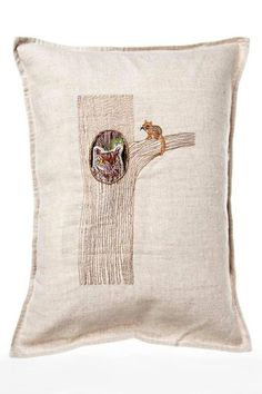 """This pocket pillow doubles as decoration and a toy. The owl comes out of his tree and is a fun small critter to play with. When the owl is out visiting with you and the chipmunk, you can see the inside of his tree house and all of his other nocturnal friends in picture frames!Remove cover to clean. Machine wash (inside out) with cold water using mild detergent, wash on the most gentle cycle. Do not use bleach or bleach alternative.    Measures: 12"""" x 16""""   Pocket Pillow Owl-In-Tree by…"""