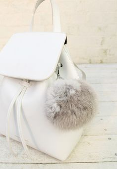 Fur Pom Pom Keychain in Light Grey - One Nation Clothing - One Nation Clothing - 1