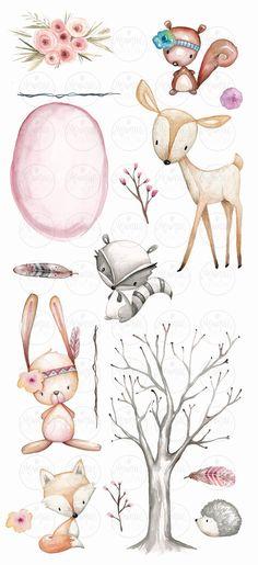 Clipart d'animaux de pépinière de forêt clipart de | Etsy Woodland Animal Nursery, Fox Nursery, Woodland Animals, Nursery Wall Art, Planner Stickers, Clipart, Art Original, Art Mural, Large Animals