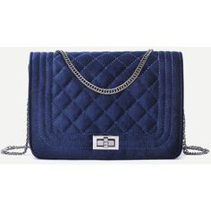 SheIn(sheinside) Velvet Quilted Flap Pushlock Chain Bag (78 RON) ❤ liked on Polyvore featuring bags, handbags, shoulder bags, shein, navy, blue handbags, blue purse, quilted handbags, navy blue purses and navy blue crossbody purse