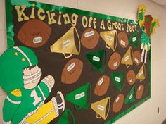 Love this football theme idea featured in the back to school bulletin board ideas roundup on Baseball Bulletin Boards, Creative Bulletin Boards, Birthday Bulletin Boards, Back To School Bulletin Boards, Preschool Bulletin Boards, Birthday Board, Bullentin Boards, Teamwork Bulletin Boards, Team Bulletin Board