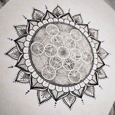 Shop: metatron's cube sacred geometry mandala sun original art print w Sacred Geometry Symbols, Sacred Geometry Tattoo, Geometric Sleeve, Geometric Mandala, Mandalas Painting, Mandalas Drawing, Sol Mandala, Mandala Sun Tattoo, Flower Mandala
