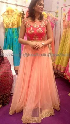 28 Super ideas for dress designer indian color combinations Indian Wedding Gowns, Indian Gowns Dresses, Indian Bridal, Dress Wedding, Half Saree Designs, Lehenga Designs, Long Frocks For Girls, Frock Models, Long Gown Dress