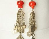 old Turcmen silver and red corals earring