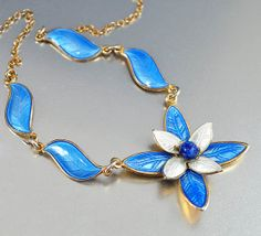 Aksel Holmsen Enamel Sterling Silver Necklace Norway Vintage Norwegian Jewelry Flower on Etsy, $96.31