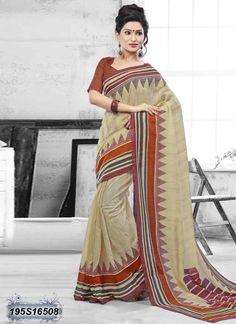 Luscious Beige Coloured Bhagalpuri silk casual Saree