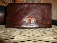 Dark Brown Leather Wallet with copper Bee metal by VallenteLeather, $54.00