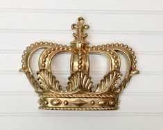 Crown Wall Hanging/Gold Crown/Queen/Nursery Decor/Shabby Chic/Glam/Wall Decor/Princess/Royal/Crown Wall Decor/Little Girls Room Decor Gorgeous Crown Wall Decor, Gold Wall Decor, Wall Decor Design, Nursery Wall Decor, Bedroom Decor, Bedroom Sets, Gold Nursery, Baby Bedroom, Nursery Bedding