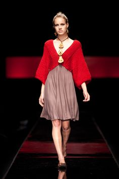 Christel dress in Red with Mocca, Also available in Spice or Charcoal.