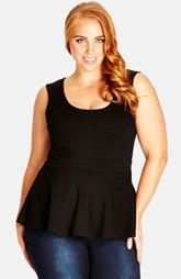 City Chic Sleeveless Peplum Top (Plus Size)