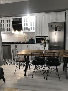 Kitchen White kitchen Kitchen rug Black and white Industrial furniture Wood Yatak odası Decor, Furniture, Kitchen Decor, Cottage Kitchen Design, Home Decor, Home Deco, Kitchen Rug, Home Kitchens, Kitchen Carpet