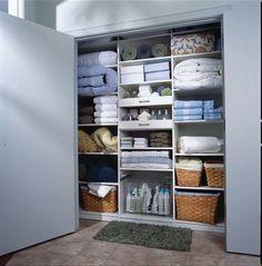 Organized Linen Closet Inspiration--oh! to have an actual linen closet!