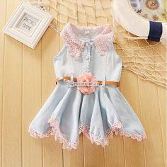 New Girls ceinture dentelle bébé Denim Tutu Princess Party Dress enfants Tops