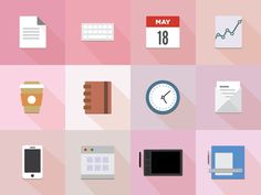 Set of 12 office icons