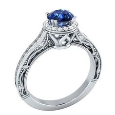 1.05 ct Certified Natural Diamond & Blue Sapphire 14K White Gold Engagement Ring