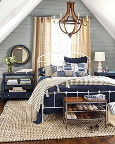 Cosy Home Interior Place a bed with open shape in front of window.Cosy Home Interior Place a bed with open shape in front of window Coastal Master Bedroom, Nautical Bedroom, Coastal Bedrooms, Home Decor Bedroom, Bedroom Modern, Bedroom Ideas, Coastal Curtains, Coastal Entryway, Coastal Rugs