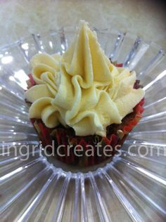 Chocolate almond, choc chip cupcake with caramel marshmallow buttercream