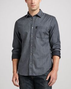 Chambray Button-Down Shirt, Washed Indigo by Burberry Brit at Neiman Marcus.