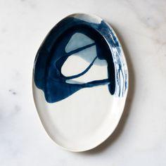 Ellipse Platter in Watercolor Blues – Suite One Studio