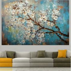 HandPaint-Wall-Art-Picture-Plum-Blossom-White-Flower-Tree-Oil-Painting-On-Canvas