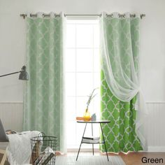 Aurora Home MIX and Match Curtains Muji Sheer Moroccan 84-inch 4-piece Curtain Panel Pair (Green 84), Size 84 Inches (Polyester, Geometric)