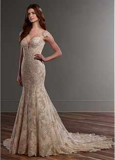 Delicate Tulle Bateau Neckline Mermaid Wedding Dresses With Beaded Lace Appliques