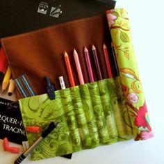 Floral Pencil Roll Art Organizer Roll Tula by TwiggyandOpalToo, $22.00