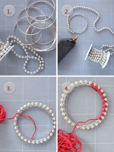 Gather your material.      Glue your pearly garland on the bracelet. We noticed that the final result is more sturdy if you place a little bit of glue under each and every pearl.      Put a dot of glue to hold the beginning of your thread.